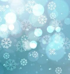 Abstract Lights with Snowflakes on Blue Background vector image