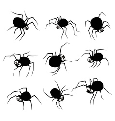 Black silhouette spider icons set isolated on vector image