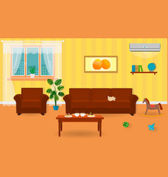 living room interior in bright colors including a vector image vector image