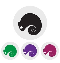 Stylized silhouette of chameleon on a light vector image