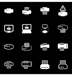 white printer icon set vector image vector image