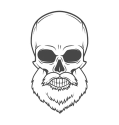 Evil Bearded Jolly Roger logo template Old biker vector image