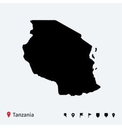 High detailed map of Tanzania with navigation pins vector image