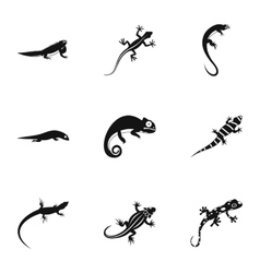 Lizard icons set simple style vector image vector image