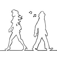 man whistling at passing woman vector image
