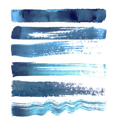 set of blue navy brush strokes vector image