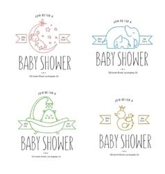 Baby shower hand drawn invitations set vector image