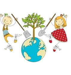 Children Plant for Planet vector image
