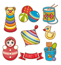 Childrens toy ornament kid cute set vector