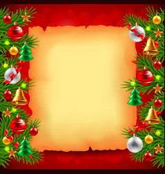 Christmas tree branches paper and red background vector image vector image