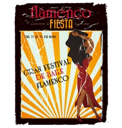 flamenco poster vector image vector image