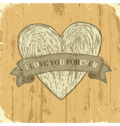 grunge heart with ribbon background vector image vector image
