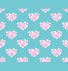 pink trumpet flower seamless on blue mint vector image