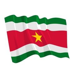 political waving flag of suriname vector image vector image