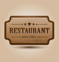 realistic of wooden signboard vector image