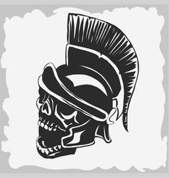 spartan warrior skull in ancient helmet vector image vector image