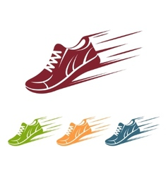 Speeding running shoe icons vector image vector image