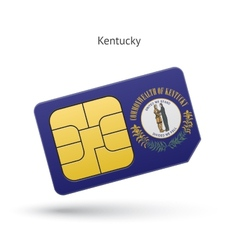 State of Kentucky phone sim card with flag vector image vector image