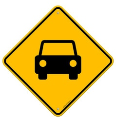 Yellow Sign with Car vector image