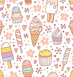 Yummy ice cream seamless pattern vector image vector image