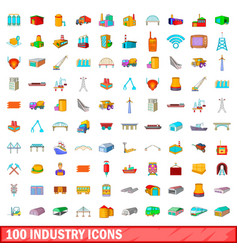 100 industry icons set cartoon style vector