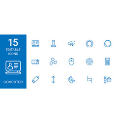 15 computer icons vector