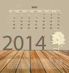 2014 calendar monthly calendar template for May vector image