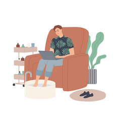 a man soaks his legs in a bowl water while vector image