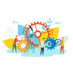 Achievement level employee interaction cartoon vector
