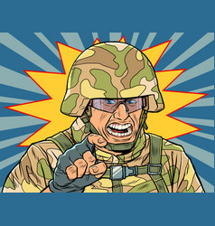 aggressive military in camouflage and helmet vector image
