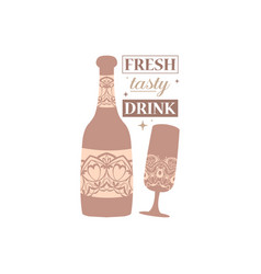 Antique style alcohol bottle and champagne vector