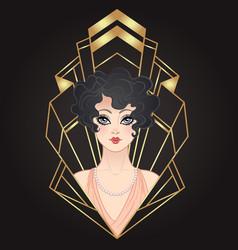 art deco vintage of flapper girl vector image