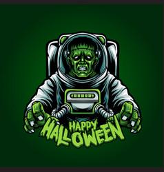 Astronaut franky happy halloween vector