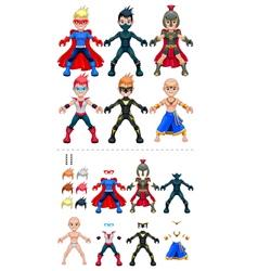 Avatar superheroes isolated objects vector