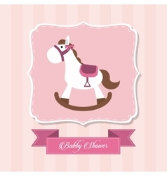Baby Shower design horse icon pink vector image