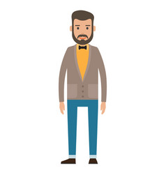 Bearded guy in yellow shirt business person style vector