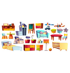 Big set of kids furniture and toys vector