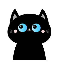 Black cat head face silhouette blue eyes pink vector
