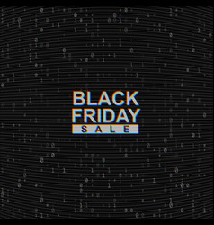 black friday sale web banner on binary code vector image