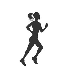 black silhouette running girl outdoor fitness vector image