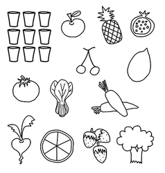 Black white vegetable fruit drawing vector