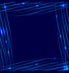blue glowing frame on a blue background with a vector image