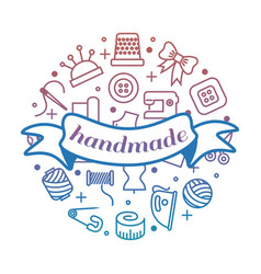 bright handmade work round concept with line icons vector image