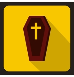 Brown coffin icon flat style vector