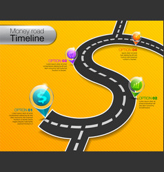 Business money road timeline infographic vector