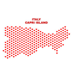 Capri island map - mosaic of valentine hearts vector