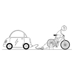Cartoon of man riding on bicycle power generator vector