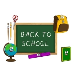 Cartoon school supplies with blackboard vector image