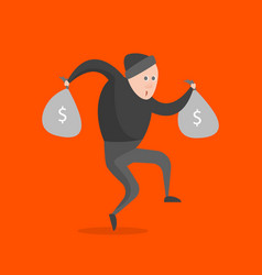 cartoon thief character on a orange background vector image