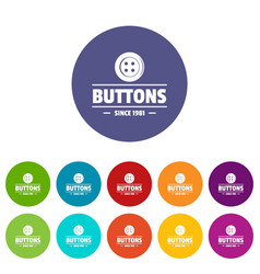 Clothes button dressmaking icons set color vector